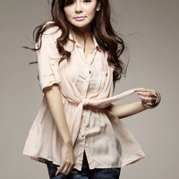 Pink Romantic Pleated Mudiem Sleeve Blouses : Wholesaleclothing4u.com