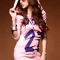 Casual Style Pink Bag Hip Hooded Long T-shirts : Wholesaleclothing4u.com