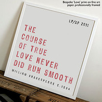 personalised 'love' framed print by coulson macleod | notonthehighstreet.com