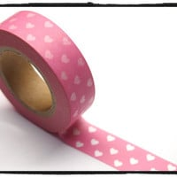 Pink Washi Tape Full Roll white hearts 15mm WT260 2rolls