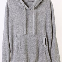 Gray Plain Loose Hoodie,Cheap in Wendybox.com