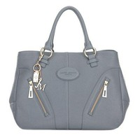 Italian leather handbag gray