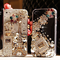 Unique Shiny Rhinestone Hardmade Transparent Hard Cover Case For Iphone 4/4s/5