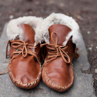 $150.00 Handmade leather moccasin by MadebyWales on Etsy