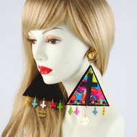 MYOB Neon Flower Triangle Earrings