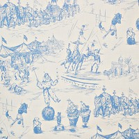Schumacher blue toile circus fabric from Brick House Fabric: Novelty Fabric