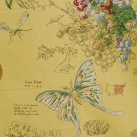 Luna moth fabric botanical yellow toile destash 3 yards from Brick House Fabric: Novelty Fabric