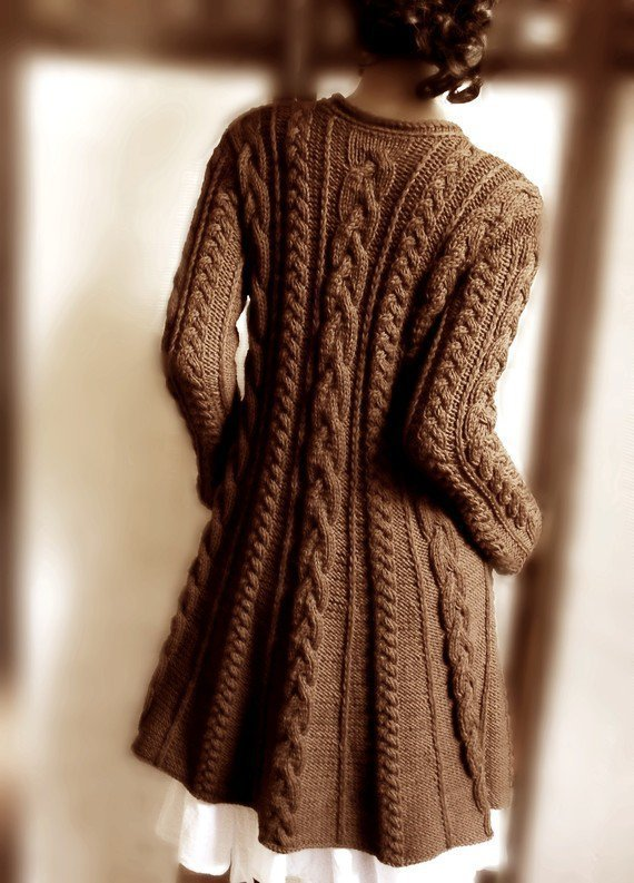 Handknitted Cabled A Line coat in pure wool Chocholate by Pilland