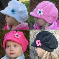 Girls newsboy style fleece hat with flower by EmmasLittleCreations