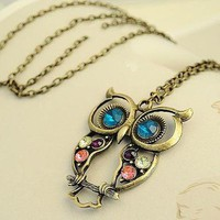 Vintage Owl Pendant Necklace Jewelry from 1Point99.com