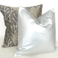 Silver Pillow Decorative Throw Pillow by PillowThrowDecor on Etsy