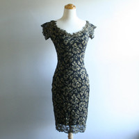 90s Black and Gold Stretch Dress Size S by Way2Cool on Etsy