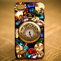 Unique Fashion Rhinestone Retro Watch Hard Cover Protective Case For Iphone 4/4s/5
