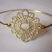 Sunflower Gold Bangle Delicate Bracelet Gold Charm - Stackable Bangle Bracelet - Christmas Gift - Bridesmaid Gift - Gift under 15