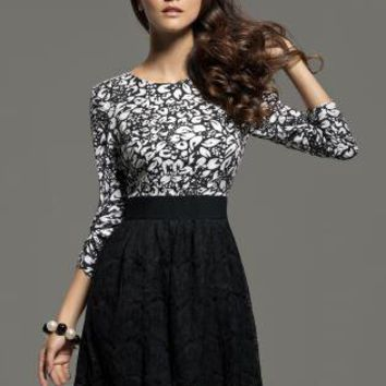 Black Day Dress - Jacquard Print High Waist 3/4 | UsTrendy