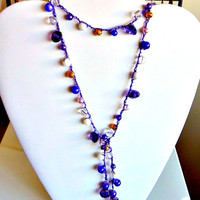 Crochet Lariat in Purple Ravens Colors