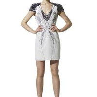 White Cocktail Dress - Bqueen Noble Beaded V-neck Dress | UsTrendy
