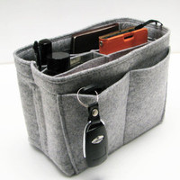 N6. Light Grey felt bag organizer - mini size (W 8in H 6in D 4in ), also for a school / baby bag, desk, car &amp; etc.
