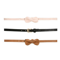 3 On Bow Skinny Belt Set | Shop Accessories at Wet Seal