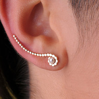 EAR CLIMBER / Wrap / 14K yellow gold filled / or Sterling Silver with 2 mm Pearl. One only.