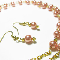 Necklace and earring combo - Gold and Rose Peach Swarovski Crystal Pearls