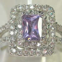 Size 8 Gorgeous Vintage Style Sim. Tanzanite and White Topaz 10kt White Gold Filled Ring  from TORNADO&#x27;S TREASURES
