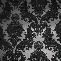 Black & Black Heirloom Damask velvet flocked wallcovering: VCC0858 | Velvet Flocked wallpaper
