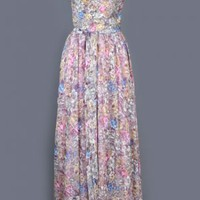 1970's Long Floral Chiffon Maxi Dress & Shawl Set - M VINTAGE FLORAL SHEER MAXI DRESSES 70'S :