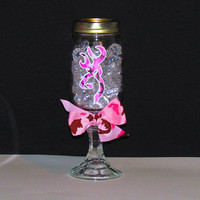 Pink Camouflage Browning Deer Red Neck Wine Glass with pink Camo Bow  Great Gift for the Lady Sportsman or Country Girl