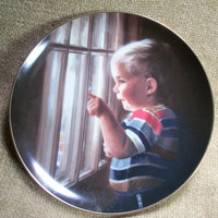 Home Decor, Wall Hanging, Plates, Collectable, Artist , David Zolan, Daddys Home, Child, Boy, Pemberton Oaks, Fathers Day, TKSPRINGTHINGS