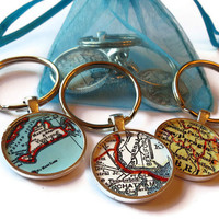 Custom keychains, personalized map keychain, Set of Three customized keychains, makes great gifts