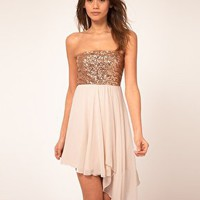 ASOS | ASOS Sequin Bandeau Dress with Chiffon Skirt at ASOS