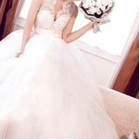 French Lace DeepDeep V Column Wedding dress from WeiweiK