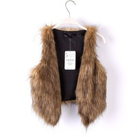 Short Style Little Cute Brown Fur Vest