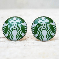 Starbucks Coffee Earrings In Green .. on Luulla