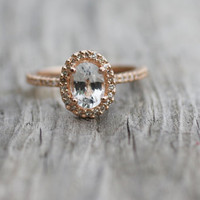 Oval white sapphire diamond ring 14k rose gold