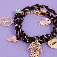 Braided Multi Charm Bracelet $11