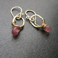 Victorian 183 Pink Ruby circle earrings by CalicoJunoJewelry