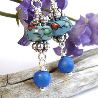 Blue Porcelain and Turquoise Earrings, Floral Design, Handmade Dangles