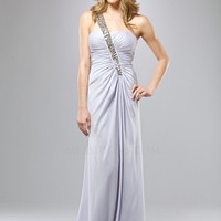 Silver Gathered Rhinestone Embellished One Shoulder Prom Dress - Unique Vintage - Cocktail, Evening  Pinup Dresses