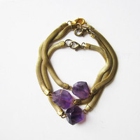 NEW - amethyst and vintage brass chain bracelet