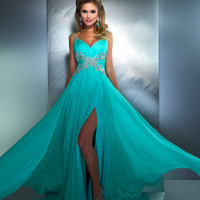 Mac Duggal Prom 2013- Mint Gown With Criss Cross Embellishments Along Waist - Unique Vintage - Cocktail, Pinup, Holiday &amp; Prom Dresses.