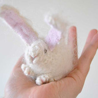 waldorf toys white bunny  Mohair Yarn  perfect by LaFiabaRussa
