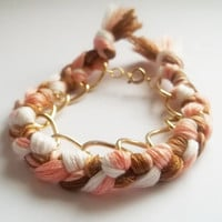 Gold Bracelet Multicoloured braided chain bracelet by ACAmour