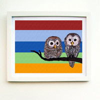 Owl Art Print Zentangle  Strix Varia II Barred Owls by MayhemHere