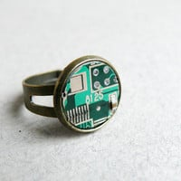 Circuit board geekery adjustable ring Small Green by ReComputing