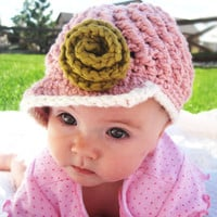 Visor Beanie Girl Hat with Rose  Organic Cotton by daisiescrochet