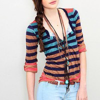 Splendid  - Gradient Stripe Button Henley Tee
