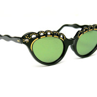 Vintage Cat Eye Glasses Sunglasses Sexy Scalloped Black Gold Frames Cut Outs Green Lenses 1950s Style Eyewear for Sun