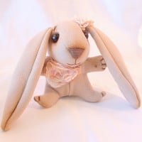 sweet pink cloth bunny rabbit  FREE shipping by WonderlandInhabitant